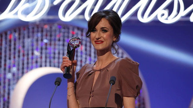 She's gone to the dark side: Katherine Kelly accepts the gong for Best Exit