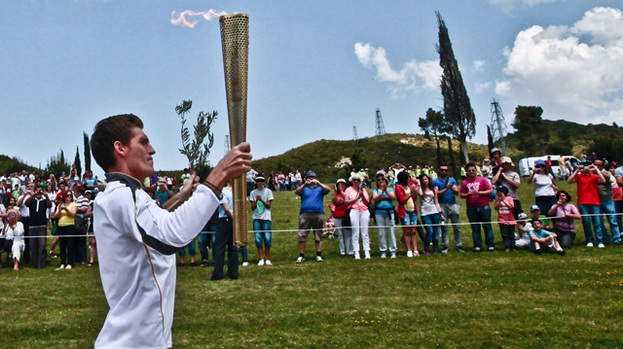 Flame on: Ceremonial lighting of the Olympic flame in Ancient Olympia, Greece, on May 10