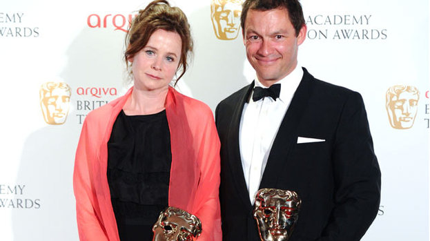 Big win: Emily Watson and Dominic West accept their awards for their parts in Appropriate Adult