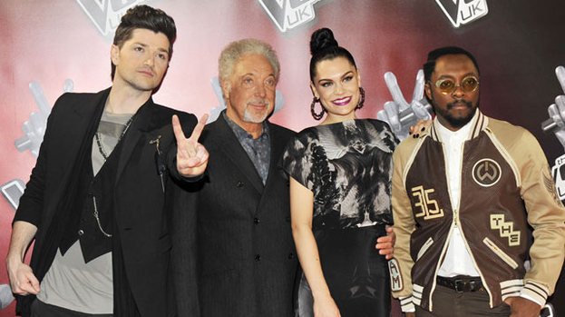 All about the voice: The judges L-R: Danny O'Donoghue, Tom Jones, Jessie J and Will.i.am