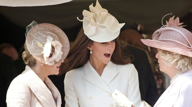 Bosom buddies: Duchess Kate (centre) enjoys a laugh with Sophie, Countess of Wessex (left) and Duchess Camilla