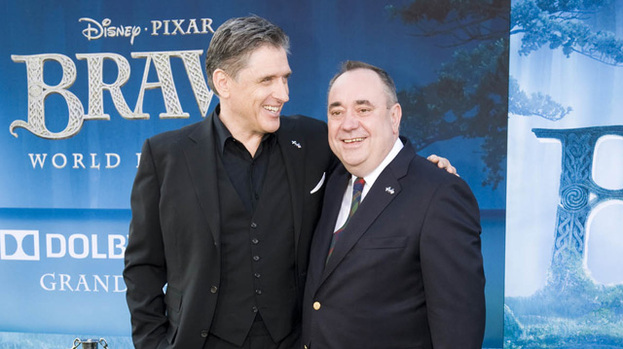 Going down a storm: Craig Ferguson (left) with First Minister Alex Salmond at the Brave premiere in Hollywood on Monday