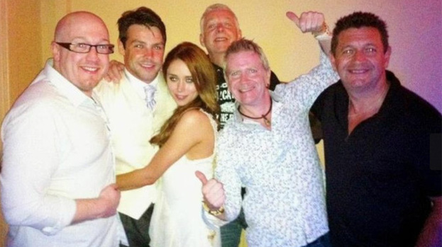 Mr and Mrs: Una Healy and Ben Foden with members of The Mindbenders