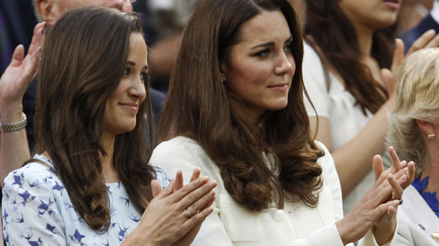 Pretty as a picture: Pippa Middleton (left) in her Dannii Minogue dress