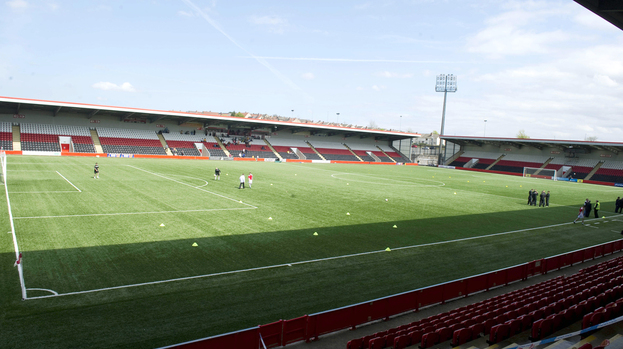 Quality GV of the Excelsior Stadium, home of Airdrie United.