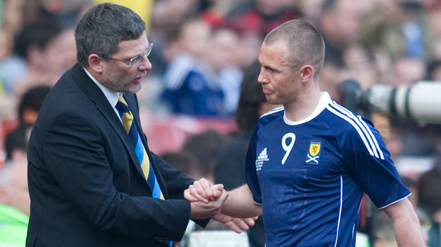 Scotland boss Craig Levein (left) with Kenny Miller