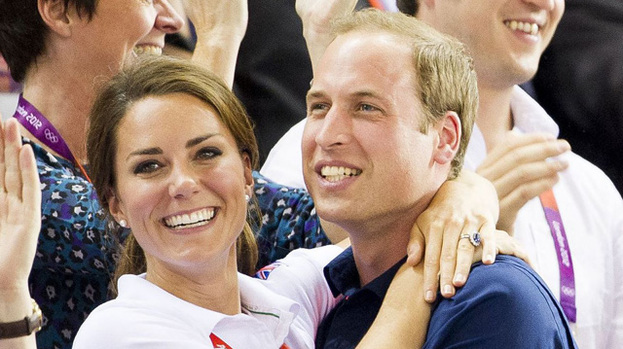 So happy: Duchess Kate and Prince William couldn't mask their excitement yesterday