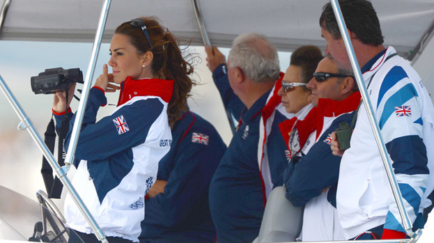 Riding high: Duchess Catherine looked happy and relaxed at today's Olympic sailing event