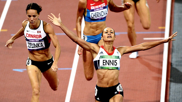 Hand it to them: Jessica Ennis of Great Britain celebrates winning a gold medal in the Women's Heptathalon