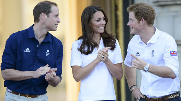 Good sports: Kate, Wills and Harry get into Olympic spirit