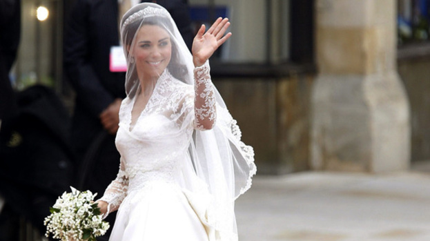 Beautiful bride: Kate Middleton walking into Westminster Abbey to marry Prince William
