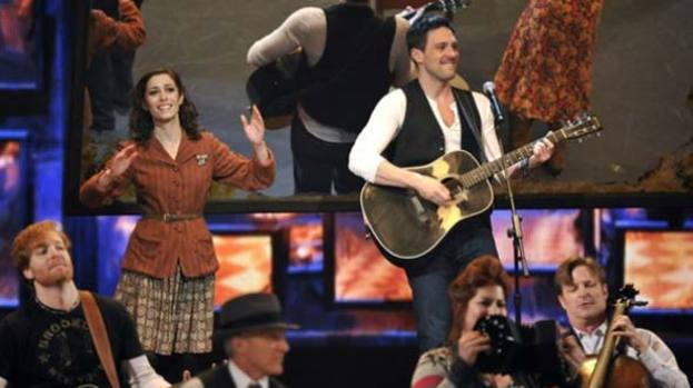 "Award winning: Cristin Milioti, left, and Steve Kazee in ""Once"" at the 66th Tony awards"