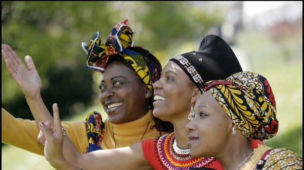 Members of Voice of Hope Choir: (left to right) Margaret Lance, Fikile Hlatshwayo and Lebo Mohlakoane.