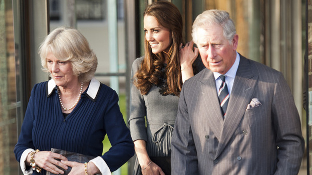 Day with the in-laws: Duchess Kate (centre) with Camilla, Duchess of Cornwall and Prince Charles