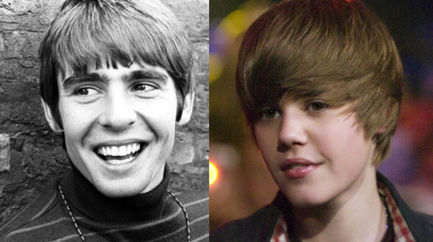 Chart-topping pop stars: Davy Jones and Justin Bieber