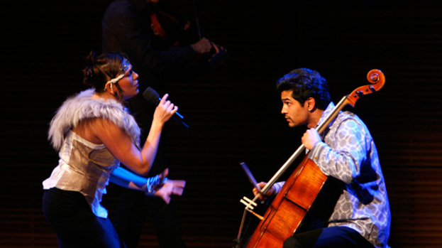 Collaborative power: Tanya Tagaq with the Kronos Quartet in 2006
