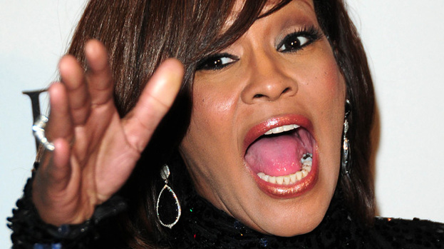 Hand it to them: Whitney Houston at a pre-Grammys party last year