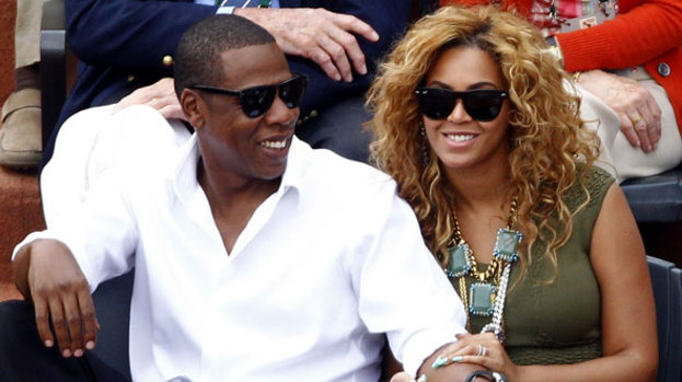 In heaven: Beyoncé and Jay-Z are delighted to have become parents to Blue Ivy Carter
