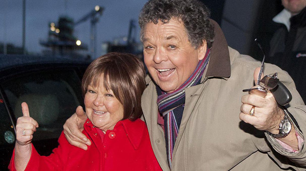 Swing when you're winning: Janette and Ian Tough leaving Clyde Auditorium after panto performance this week
