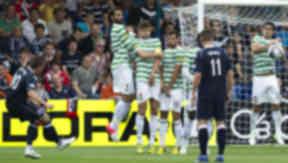 Richard Brittain curles home a free-kick against Celtic.