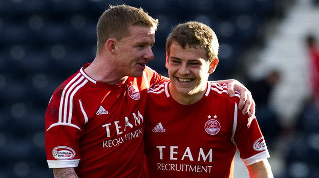 Aberdeen's Ryan Fraser and Jonny Hayes (left) are all smiles at full time.