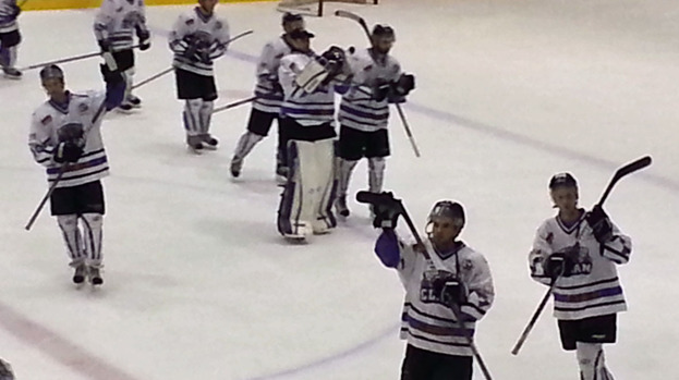 Braehead Clan celebrate victory over Edinburgh Capitals, October 2012.