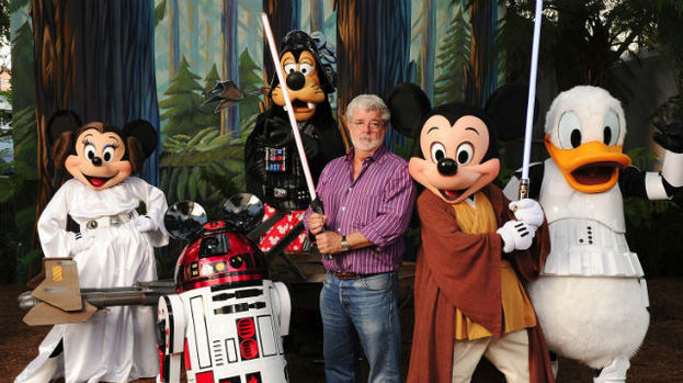 George Lucas joins Disney characters as they dress up Star Wars style.