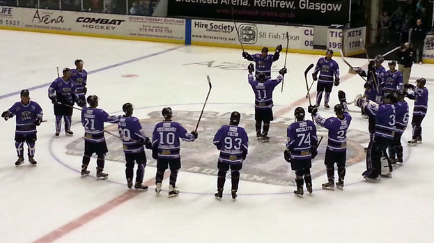Braehead Clan celebrate on the ice, November 2012.