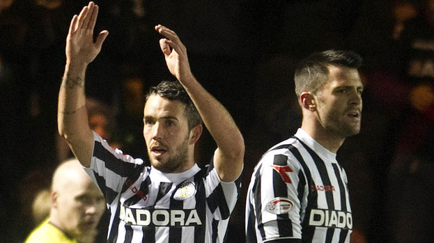 Dougie Imrie celebrates his winner for St Mirren