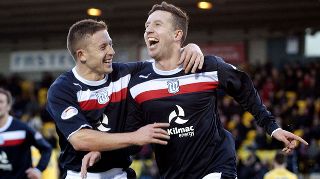 Dundee's Ryan Conroy (right) celebrates his goal with team-mate John Baird