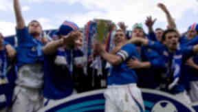 Rangers are presented with the SPL trophy in 2005.