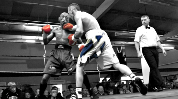 Iain Butcher and Michael Ramabelasta in the ring at Rival's Gym in Wishaw.