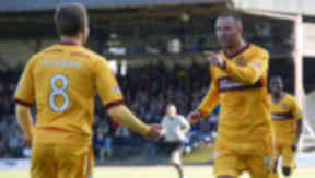 Michael Higdon in action for Motherwell.