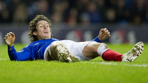 Rangers striker Francisco Sandaza takes a quick breather after another missed opportunity