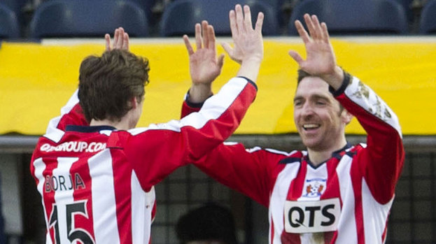 Kilmarnock's Borja Perez (left) congratulates Paul Heffernan on putting their side infront.