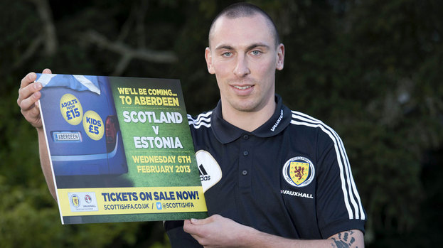 Scott Brown will captain Scotland against Estonia at Pittodrie.