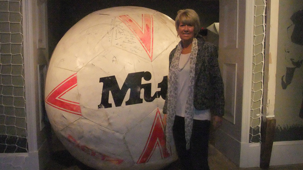 Football exhibition: Rose Reilly Peralta at the More than a Game exhibition at the Kelvingrove Art Gallery.