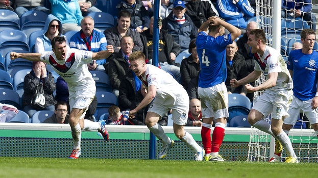 Peterhead celebrate scoring against Rangers at Ibrox.