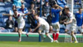 Peterhead celebrate scoring against Rangers at Ibrox.