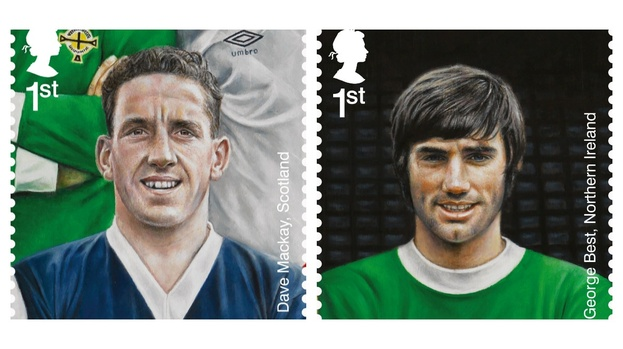 Dream team: Dave Mackay and George Best represent Edinburgh connections in the Royal Mail collection.