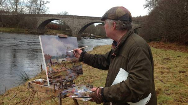 River Dee: Howard Butterworth painting at the river in February this year for the 150th anniversary.