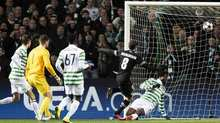 Claudio Marchisio fires the visitors ahead after a mix-up in the Celtic defence