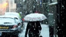 The snow quickly arrived around 8.30am on Monday in Aberdeen, leaving many pedestrians and drivers alike caught out.