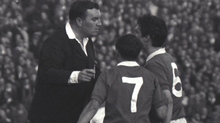 Legendary referee Tiny Warton argues with Jim Baxter & Tommy McLean