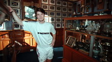 Brian Laudrup in the Ibrox trophy room