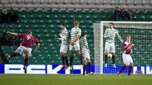Steven Doris' superb free kick earned Arbroath a draw at Celtic Park.