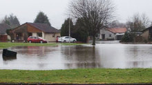 Tay Avenue in Comrie was flooded.