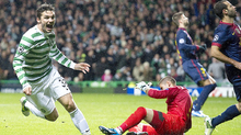 Tony Watt: The Celtic youngster celebrates his winner against Barcelona.