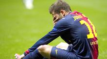 Dejected: Barcelona's Jordi Alba after the final whistle.
