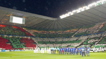 Fans: Celtic supporters put on a stunning display at the start of the game.